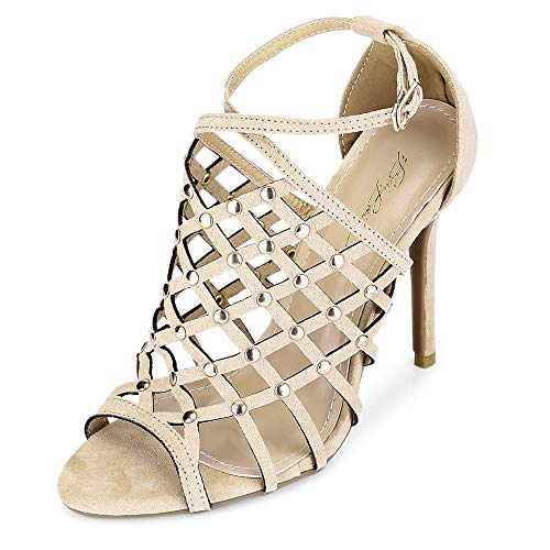 KCatsy Sexy Pointed Toe Hollow Out Rivet Stiletto Heel Women Sandals Apricot