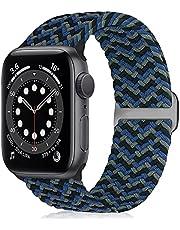 WNIPH Flätat Solo Loop armband kompatibelt med Apple Watch 38 mm 40 mm 42 mm 44 mm, rostfritt stål spänne töjbart ersättningsarmband Sport Loop iWatch Series 6/SE/5/4/3/2/1 herrar damer