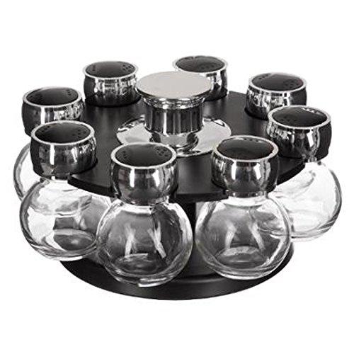 Paris Prix - Présentoir à épices Rotatif fioles 10 Pots Noir