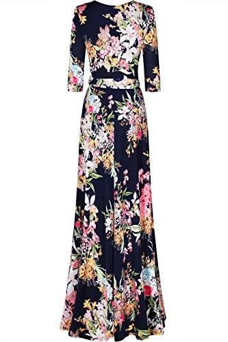 Navy Floral Pink3 Bohemian Bon Dress 4 Wrap Women's Printed V 3 Sleeve Rosy Maxi Neck 4FxfZ7