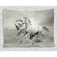 Ambesonne Animal Decor Tapestry, Running Horses Symbolize...