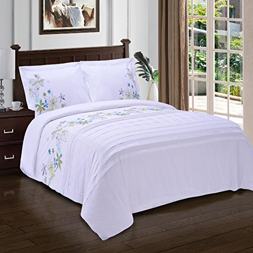 Superior Spring Blooms 100% Premium Cotton Twill Fabric Full/Queen Embroidered Duvet Set by Superior (Image #1)