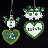 Kurt Adler Set Of 2 Irish & Proud Snowman Christmas Ornaments