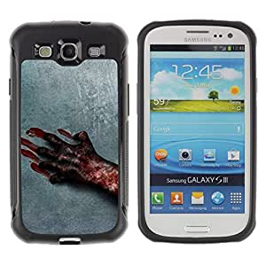 iKiki Tech / Estuche rígido - Blood Hand Scary Halloween Grey Horrible - Samsung Galaxy S3 I9300