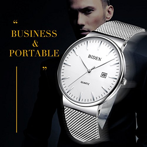Watch,Men's Fashion Stainless Classic Casual Watch With Milanese Mesh Band,Waterproof Casual Analog Quartz Dress Wrist Watch (Silver)