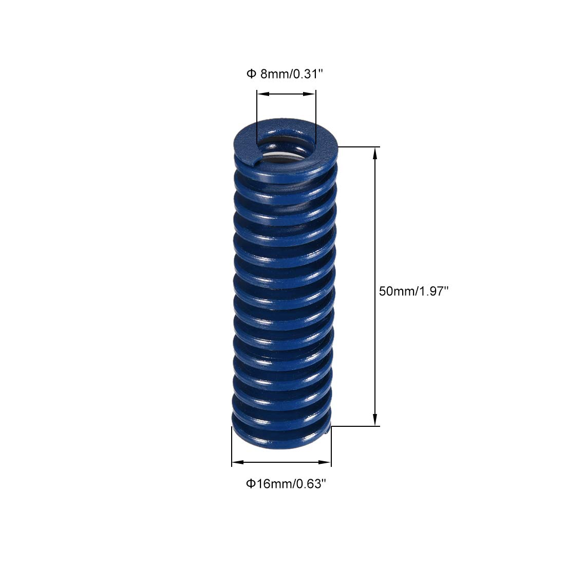 sourcing map 16x50mm largo espiral estampado carga ligera molde de compresi/ón resorte rectangular azul 10 unids