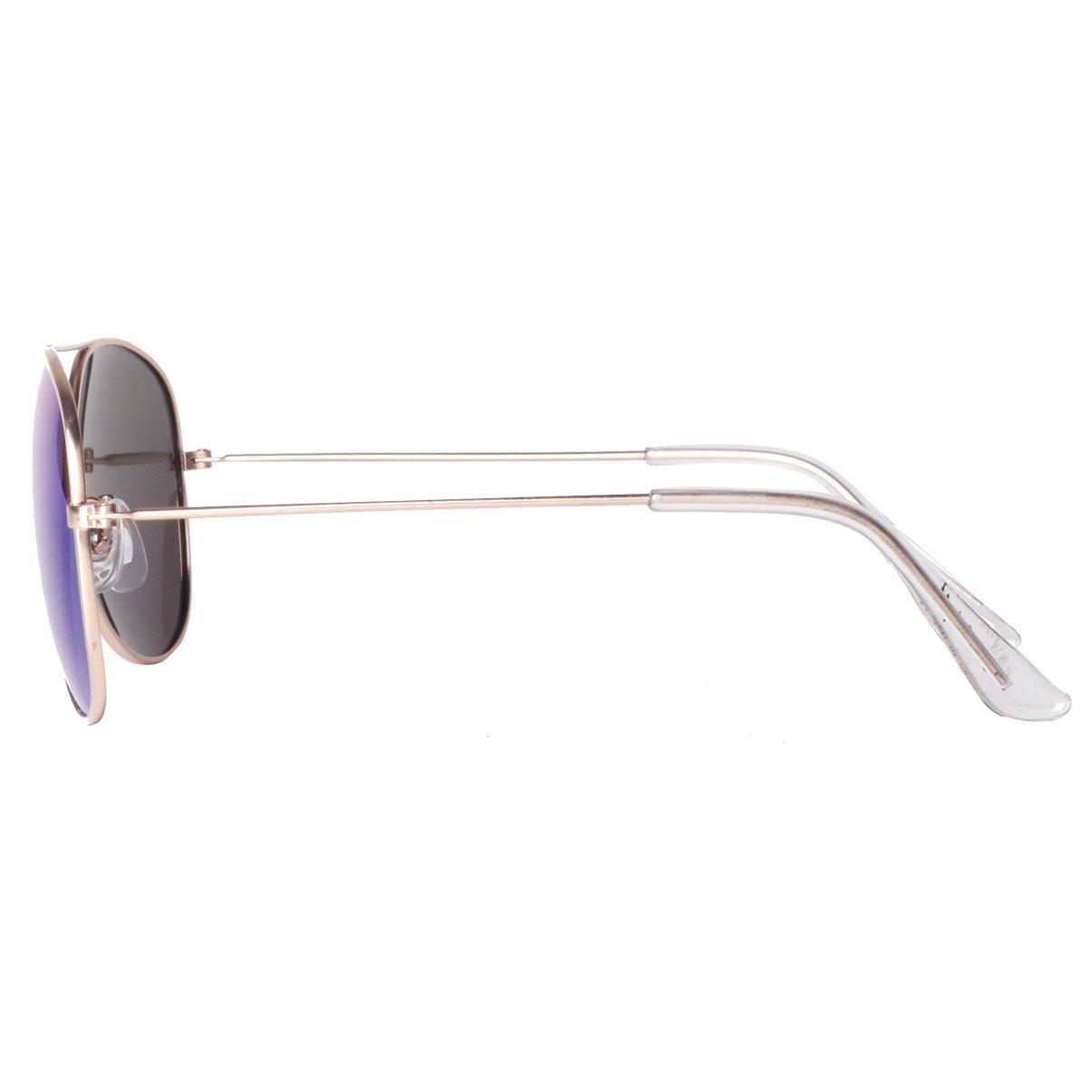 Vivienfang Reflective Revo Color Lens Aviator Sunglasses Metal Frame 85832C(Gold,Red)