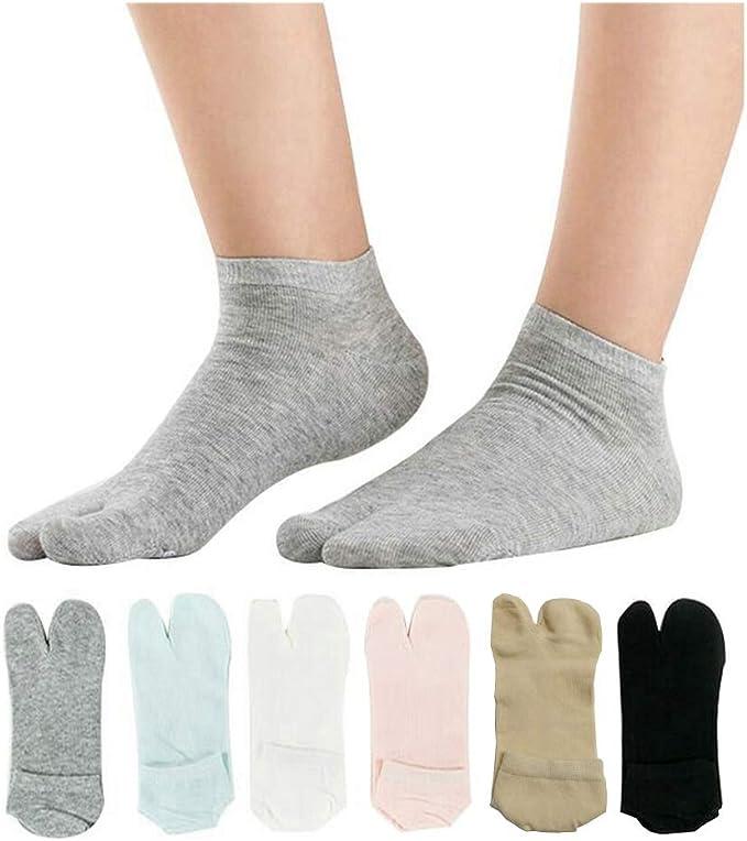 Classic Soft Elastic Flip Flop Tabi Toe Socks 5/Pairs Multicolour