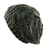 Ladies Cable Knit Beret (Olive)