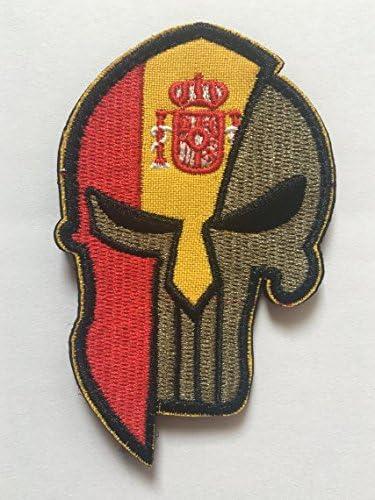 Calavera ejército Tactical moral de bandera de España insignia Velcro Patch: Amazon.es: Juguetes y juegos