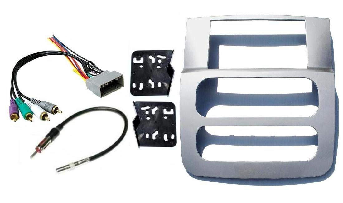 Double Din Dash Kit for Installation of Aftermarket Radio Stereo with Infinity System Compatible with 2002-2005 Dodge Ram (Silver) by Custom Install Parts