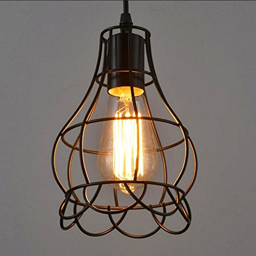 Sanguinesunny Pendant Light Ceiling Lamp Industrial Vintage Style Mini Hanging Lighting Lamp with Rose Wire Cage Guard 1-Light in Black Finish 40W 110V by Sanguinesunny (Image #1)