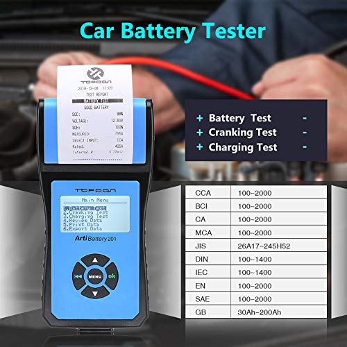 Battery Tester TOPDON AB201 Battery Analyzer 12V/24V 100-2000 CCA with Cranking/Charging/Battery Tests, Data Printing/Export/Review Functions for DIYers and Garages Battery Load Tester –Black and Blue by TT TOPDON (Image #2)