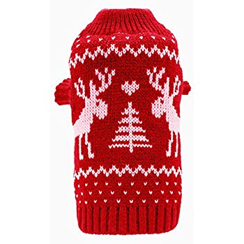 Amazon.com : Small Dog Puppy Christmas Sweaters Cute Reindeer Red ...