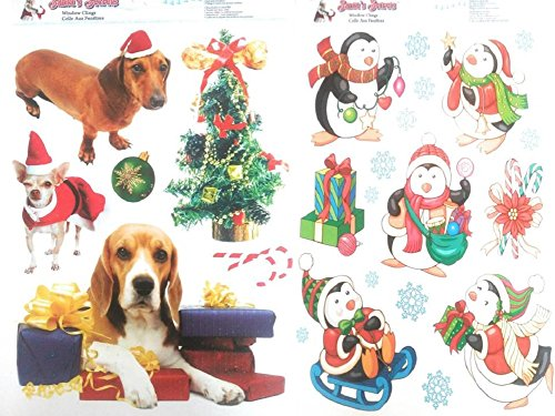 2 CHRISTMAS Dog & Penguin Glitter Window Clings Bundle Large Visible from Both Sides Reusable Great Value (2017 Noel's Presents Christmas Time)