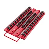 Olsa Tools Socket Organizer Tray | Red Tray with Black Clips | Holds 48 Pcs Sockets | Premium Quality Tools Organizer