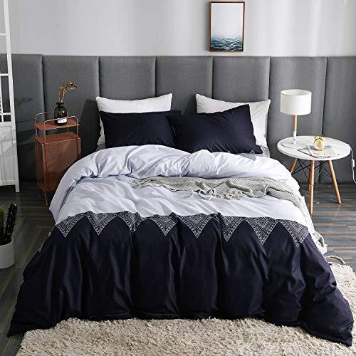 LAMEJOR Duvet Cover Sets Queen Size Simple Black and White Splicing Pattern Bedding Set Comforter Cover (1 Duvet Cover+2 Pillowcases)