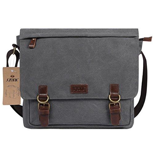 S-ZONE Vintage Canvas Laptop Messenger Bag School Shoulder Bag for 13.3-15inch Laptop Business Briefcase Gray