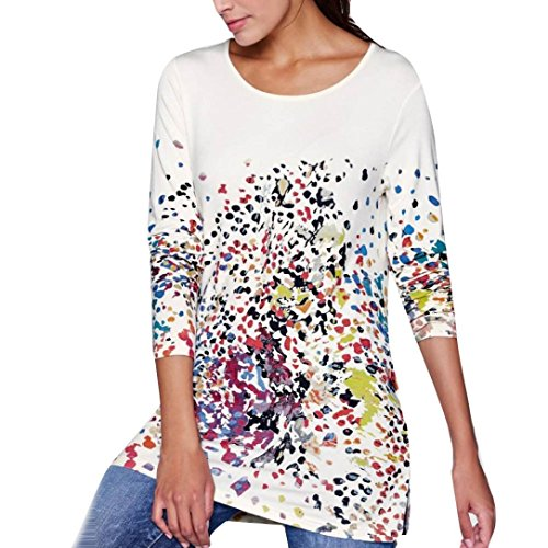 Womens T-Shirt Blouse Tank Tops Promotion!Rakkiss Long Sleeve Print O-Neck Bllouse Casual Teen Girls Tees (Vince Sheer Tee Jersey)