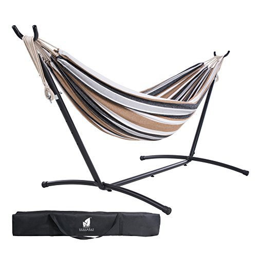 SUNCREAT Double Hammock with Steel Stand for 2 Person Includes Portable Carrying Case, 9 Feet-Desert Stripe