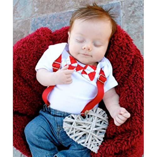 Noah S Boytique Baby Boys Valentines Day Suspender Bow Tie Outfit