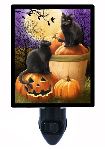 Bubble Night Light Halloween - Halloween Night Light, Midnight Rendezvous, Cats and Pumpkins
