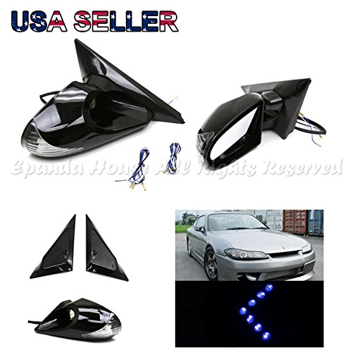 For 97-03 Bmw E39 5-Series Side Power Mirrors White/Blue Led Signal+Blue - Led Arrow Mirrors Blue