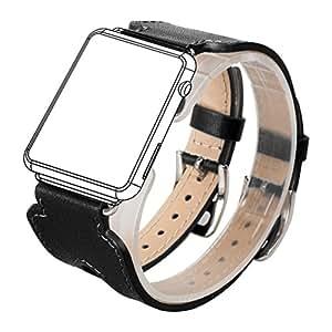 Para Apple Watch Band, Wearlizer doble hebilla diseño de puño de piel reloj banda correa de repuesto w/cierre de metal para ambos serie 1y Serie 2, color 38mm Black