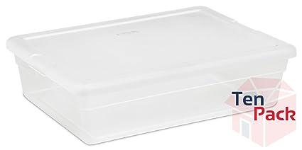 Sterilite 28-Quart Clear Storage Box with Cover See-through Base 10-  sc 1 st  Amazon.com & Amazon.com: Sterilite 28-Quart Clear Storage Box with Cover See ...