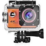 Acouto Action Camera 20M 4K 2 Inch Large Screen Wifi Waterproof Sports Cam Option Lens Angle with Waterproof Housing Case and Remote Controller Accessories Kits (Orange)