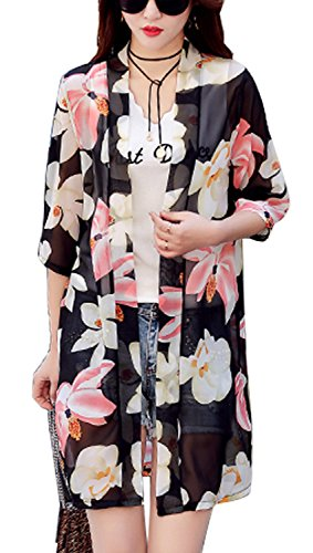 Monissy レディース シフォン カーディガン ロングコート 夏 薄手 透け感 花柄 ブラック ホワイト 迷彩 M L XL