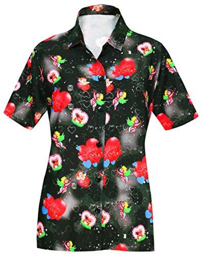LA LEELA Womens Beach Wedding Hawaiian Blouse Shirt Aloha Luau Camp 3D Printed
