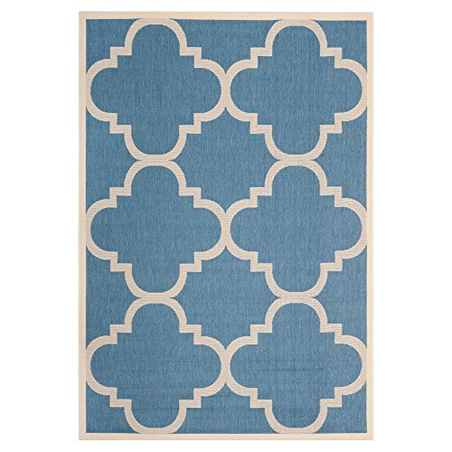 Safavieh Transitional Rug - Courtyard 6000 Polypropylene -Blue/Beige Blue/Beige/Transitional/5'L x 2' 7''W/Small Rectangle