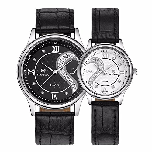 Romantic His and Hers Pair Wrist Watches for Couples Man Woman fq-102 Fashionable Ultrathin Leather Wristwatch Set of 2 by DREAMING Q&P