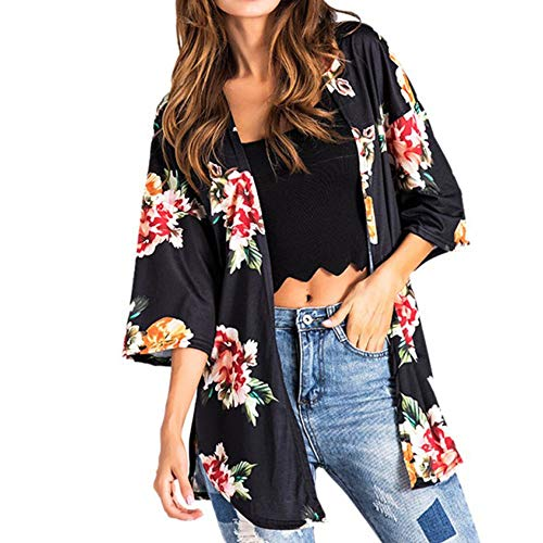 Willow S Women Fashion Casual Chiffon Shawl Floral Print 3/4Sleeve Kimono Cardigan Top Cover Up Loose Blouse ()