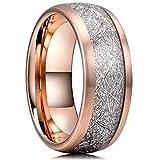 Three Keys 8mm Tungsten Wedding Ring for Men Domed Imitated Meteorite Inlay Brushed Rose Gold Mens Meteorite Wedding Band Engagement Ring Promise Ring Size 9