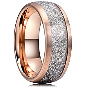 THREE KEYS JEWELRY 4mm 6mm 8mm Tungsten Wedding Ring Imitated Meteorite Rose Gold Brushed/Polished Band