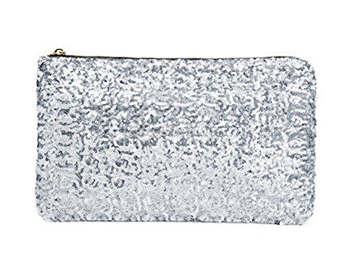 Clutch Dazzling Handbag Zipper Bag Women Cosmetic Silver Sequins xgFwOtS