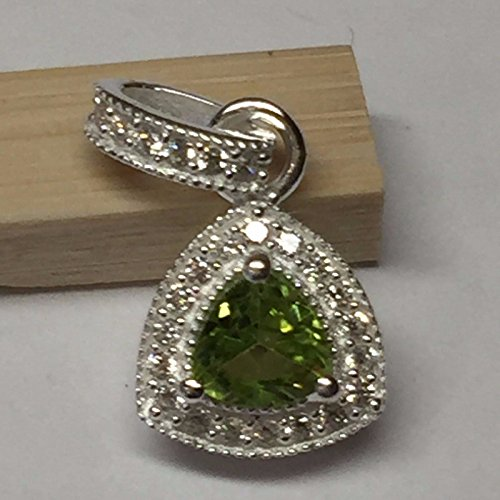 Sapphire Natural Green (Natural 1ct Green Apple Peridot & White Sapphire 925 Solid Sterling Silver Pendant 15mm)