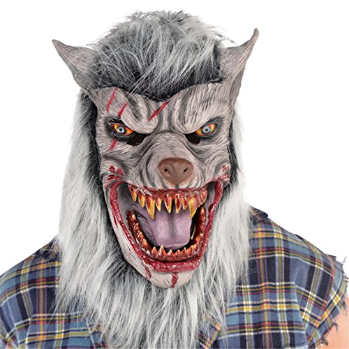 AMSCAN Bloody Werewolf Mask Halloween Costume Accessories, One Size