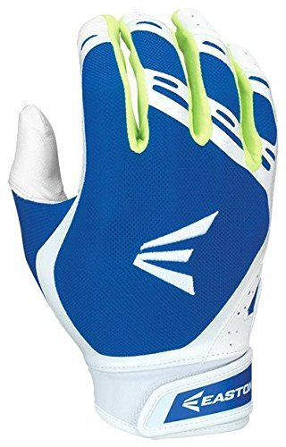 Easton Hyperskin - HF3 Fastpitch Batting Gloves, White/Royal, X-Large