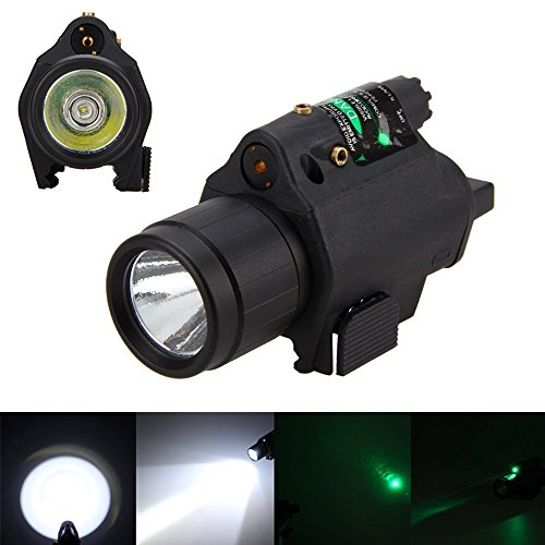Picatinny Flashlight Glock Laser Sights, P08 180 Lumen Weapon Light and Laser Dot Sight for Home Defense