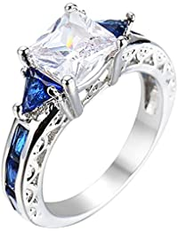 Women Platinum Plated Square Triangle Sapphire Blue Cubic Zirconia CZ Hollow Openwork Crystal Ring