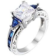 Women White Gold Plated Square Sapphire Blue Double Tone CZ Bridal Engagement Wedding Ring Size 5-10