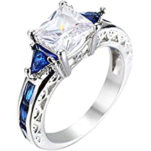 XAHH Women Platinum Plated Square Triangle Sapphire Blue Cubic Zirconia CZ Hollow Openwork Crystal Ring
