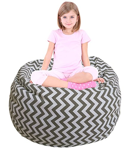 Kids Bean Bag | Large Bean Bag | Toy Storage | Children's Chair Cover | Soft Toy Bag | Kids Toys Organizer | Bean Bag Cover | Comfy Chair Comfortable Seating for Kids Gray Wave Stripes by EDCMaker