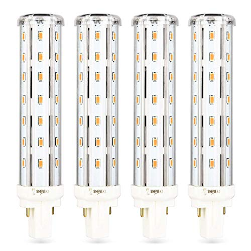 Wenscha G24-D LED PLC Light Bulb 12W Replacement 26W PL-C/T Tube 2-Pin G24d-1 2 3 Recessed Base, Non Dimmable, 1200 Lumen, 360 Degree, 80 CRI, 3000K Soft White, 4-Pack (Remove/Bypass The Ballast)