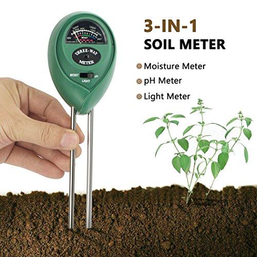 Soil pH Meter Besiva 3 in 1 Soil Test Kit for Light pH Moisture Plant Tester for Home and Garden Lawn Farm Indoor Outdoor No Battery Needed (Green) - Soil Moisture Tester