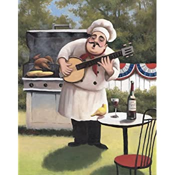 Amazon.com: Vineyard Fat Chef Kitchen Décor Art Print Picture Framed ...