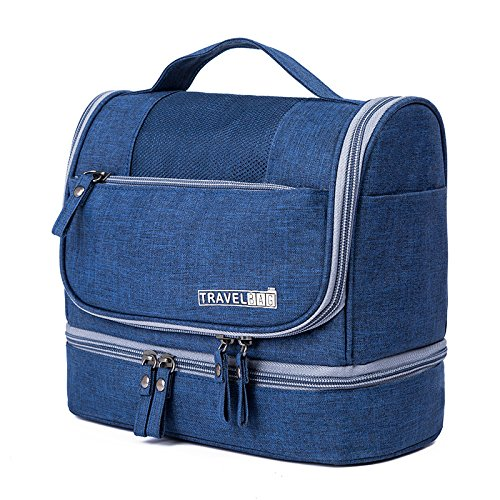 Hanging Toiletry Bag Travel Kit, Sunzel Waterproof Travel Organizer Bag for Men and Women, Premium Leak Proof Makeup Bag Accessories, Dark Blue